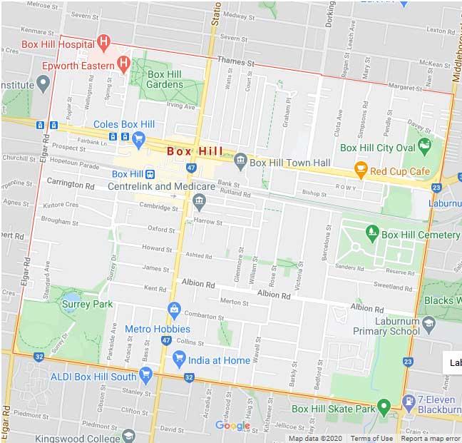 Box Hill Map Area